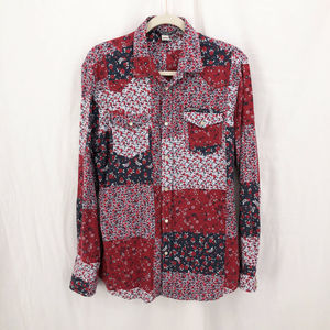 DIESEL Bandana Print Slim Snap Button Front Shirt